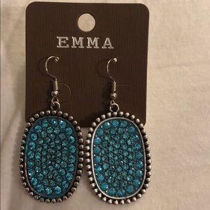 New blue/Teal rhinestone earrings
